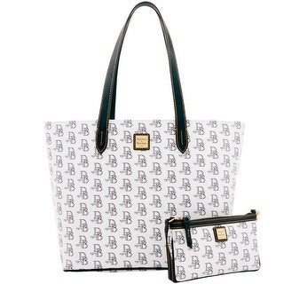 Dooney & Bourke 1975 DB Signature Lg Zip Shopper & Slim Wristlet (Introduced by Dooney & Bourke at $268 in Feb 2017)