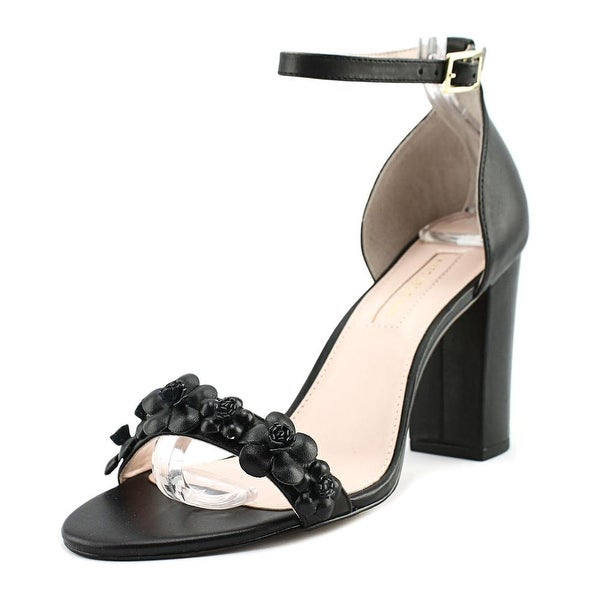 Avec Les Filles Michele Women Open Toe Leather Black Sandals