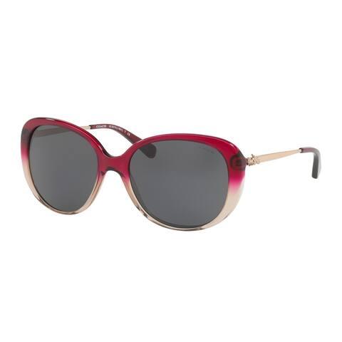 Coach Women's HC8215F 547387 57 Dark Grey Solid Metal Oval Sunglasses