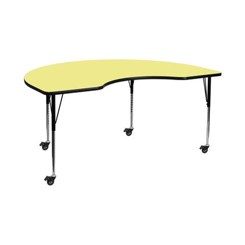 """Offex 48""""W x 96""""L Mobile Kidney Shaped Activity Table with Yellow Thermal Fused Laminate Top and Standard Height Adjustable Legs"""