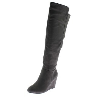 Chinese Laundry Womens Unbelievable Wedge Boots Microsuede Knee-High