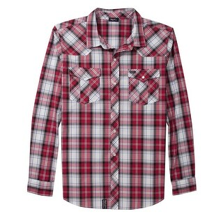 LRG Chief Rocka Woven Plaid Long Sleeve Shirt Small Red and White