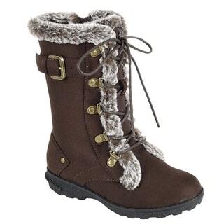 Little Girls Brown Faux Fur Trim Lace-Up Closure Winter Boots