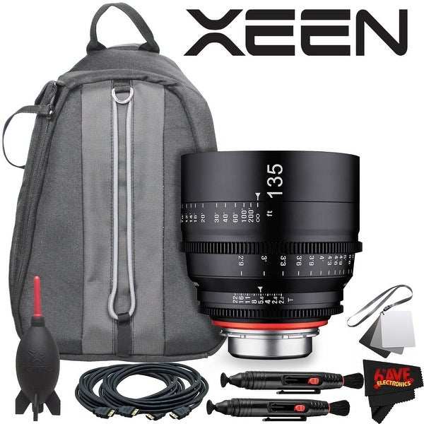 Rokinon Xeen 135mm T2.2 Lens with Canon EF Mount With Professional Lens Backpack and Accessories - black