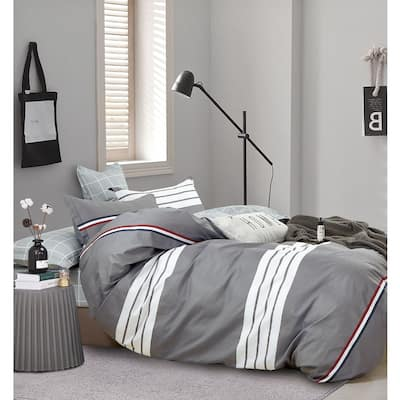 Kevin Gray/White Striped 100% Cotton Reversible Comforter Set