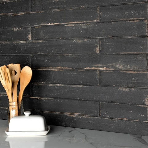 SomerTile 2.75x23.5-inch Lambris Nero Porcelain Floor and Wall Tile