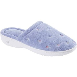 Isotoner Women's Terry Floral Embroidered Clog Periwinkle