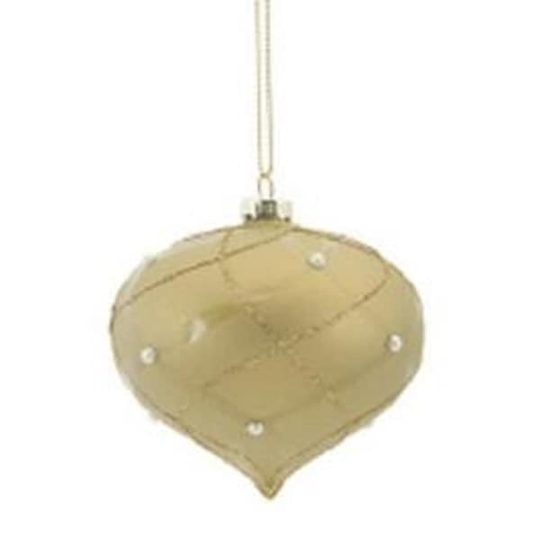 "4"" Matte Taupe Shiny & Gold Glittered Contoured Plaid Pearl Accented Glass Onion Christmas Ornament"