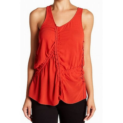 Boss Hugo Boss Red Women's Size 6 Ruched Crepe Tank Cami Top