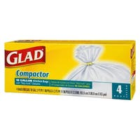 Glad 70037 Compactor Garbage Bags, 18 Gallon, 4 Bags