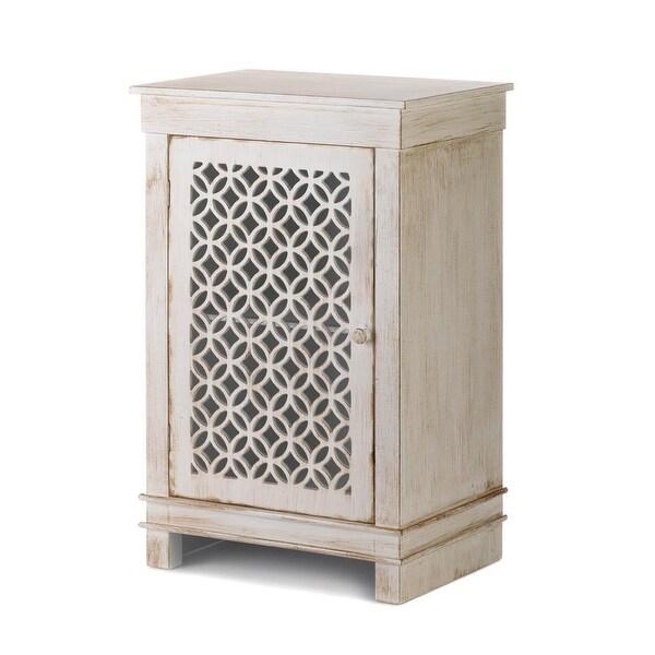 Hot Selling Geometric Cutwork Distressed White Cabinet
