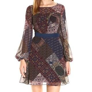 BCBG Generation NEW Brown Womens Size 0 Pleated Printed Sheath Dress