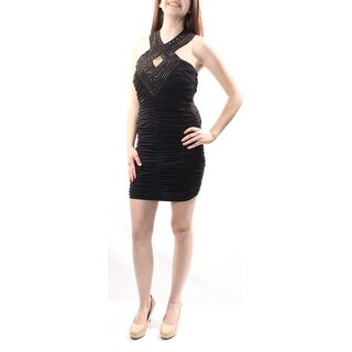 Womens Black Sleeveless Above The Knee Body Con Formal Dress Size: 13