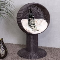 Gymax 33'' Cat Bed Home Ball Hooded Rattan Wicker Elevated Cat Kitten with Cushion
