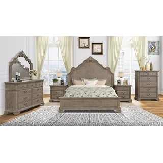 Levan Carved Wood Bed Set with Panel Bed, Dresser, Mirror, Two Nightstands, Chest