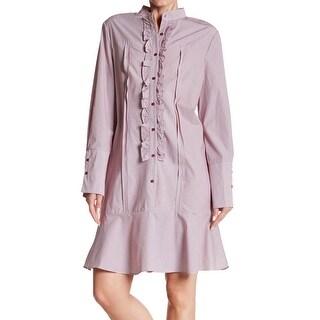 ECI Ruffled Drop-Waist Women's Button Down Shirt Dress