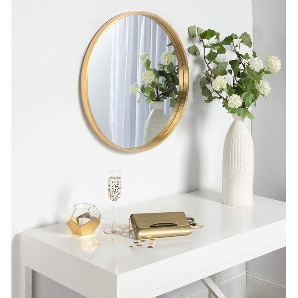 """Kate and Laurel Travis 25.6"""" Round Accent Wall Mirror. Opens flyout."""