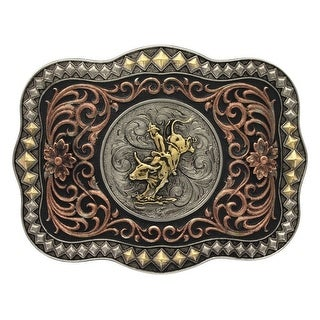 Montana Silversmiths Belt Buckle Mens Attitude Bullrider Gold - 4.125 x 3.125