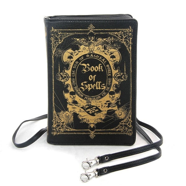 Black and Gold Book of Spells Hard Clutch with Removable Strap