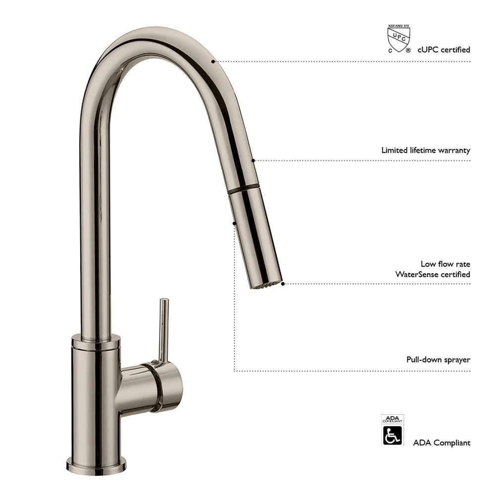 Shop Design House 548552 Eastport 2 2 Gpm Pull Down Kitchen Faucet Satin Nickel Overstock 21206807