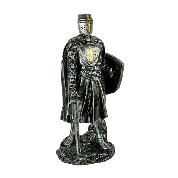 Silver Metal Look Medieval Crusader Gothic Soldier Statue - 11.5 X 5 X 4.5 inches