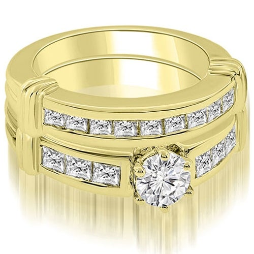 2.15 cttw. 14K Yellow Gold Vintage Round Cut Diamond Bridal Set