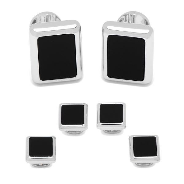 Silver and Onyx JFK Presidential Stud Set