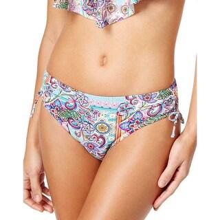 Profile By Gottex Blush Printed Ruched Side Bikini Bottom Multi-Color Medium M