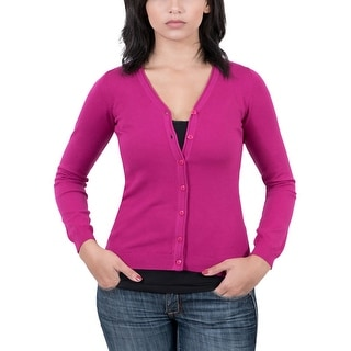 Real Cashmere Fuschia Cardigan Womens Sweater