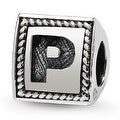 Sterling Silver Reflections Letter P Triangle Block Bead (4mm Diameter Hole) - Thumbnail 0
