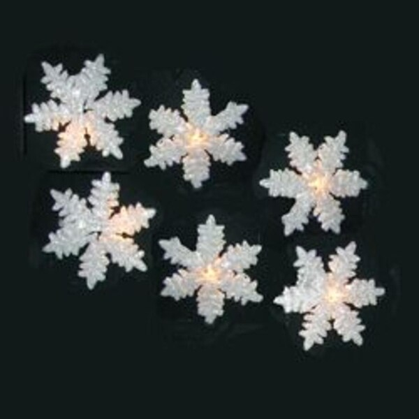 Set of 10 Glitter Drenched Snowflake Christmas Lights - Green Wire - CLEAR