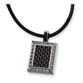 Chisel Stainless Steel Gold and Black Color CZ Carbon Fiber Pendant (3 mm) - 22 in