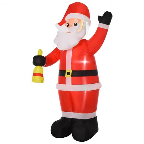 HOMCOM 8FT Tall Outdoor Lighted Inflatable Christmas Lawn Decoration, Santa Claus with Bell
