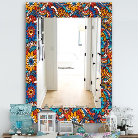 Designart 'Hand Drawn Pattern With Floral Elements' Bohemian and Eclectic Mirror - Modern Wall Mirror