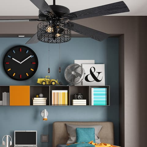 """Aria River of Goods Black 52 in. Ceiling Fan With 2 LED Lights - 52"""" x 52"""" x 13.75""""/18.75"""""""