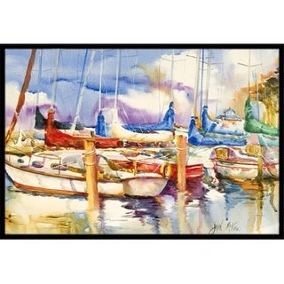 Carolines Treasures JMK1072MAT Run Away Sailboats Indoor & Outdoor Mat 18 x 27 in.