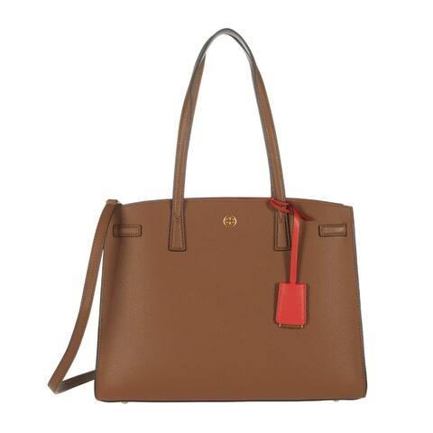 Tory Burch Womens Moose Brown Walker Large Satchel Handbag