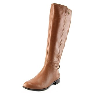 Anne Klein Kacey Wide Calf Women Round Toe Leather Knee High Boot