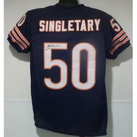 Mike Singletary Autographed Chicago Bears Size XL Blue jersey HOF 98