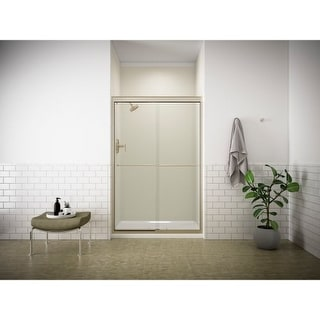 "Kohler K-702208-L Fluence Frameless Bypass Shower Door with Crystal Clear Glass - 70-5/16"" H x 47-5/8"" W (Option: Nickel Finish)"