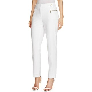 Calvin Klein Womens Trouser Pants Ponte Zipper Detail