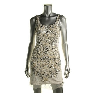 Adrianna Papell Womens Petites Embellished Sheath Cocktail Dress - 4P