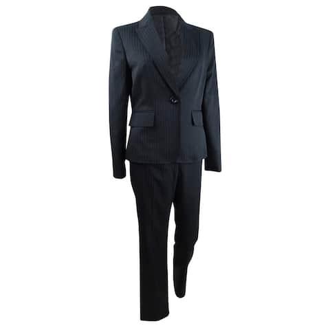 Le Suit Women's One-Button Pinstriped Pantsuit (14, Black Multi) - 7