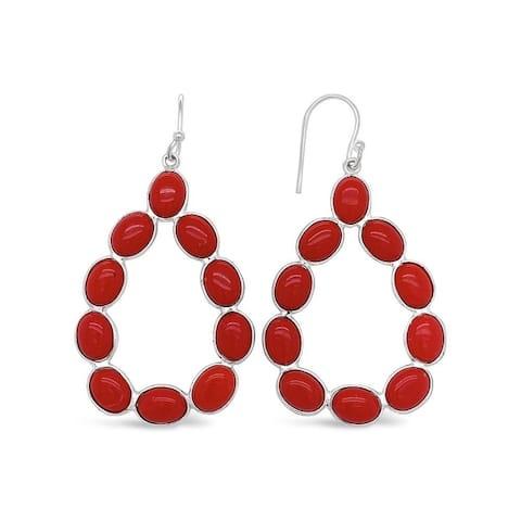 925 Sterling Silver 17 Carat Genuine Coral Teardrop Earrings for Women