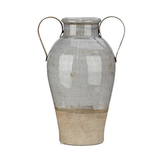 Crackled Texture Ceramic Vase with Two Side Metal Handles, Large, Gray and Brown