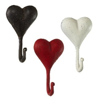 """Set of 3 Vibrantly Colored Distressed Finish Heart Shaped Wall Hooks 5.75"""" - Black"""