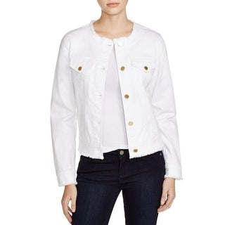 MICHAEL Michael Kors Womens Denim Jacket White Wash Frayed Hem - m