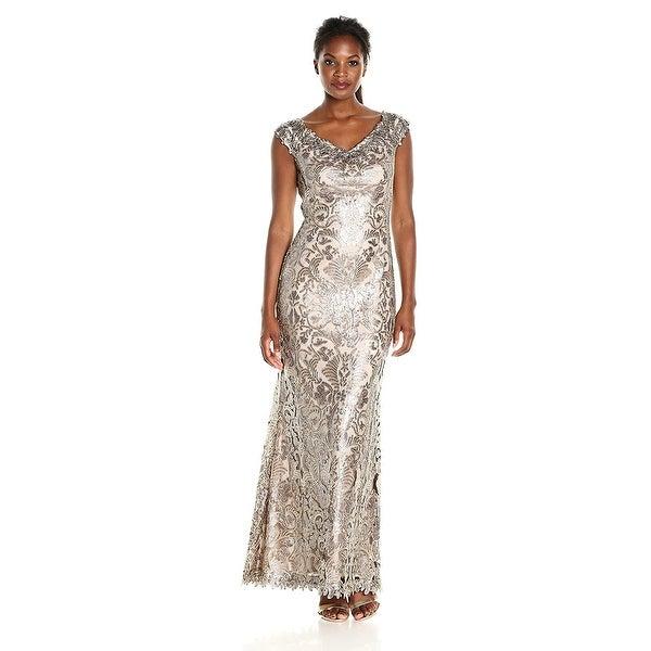 Shop Tadashi Shoji V-Neck Sequined Lace Evening Gown Dress - 2 ...