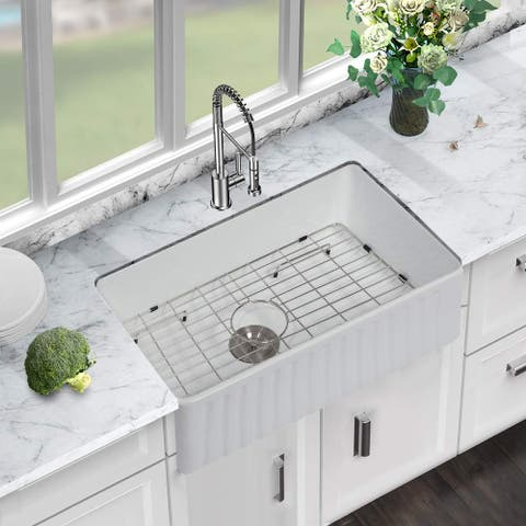 30 Inch Kitchen Sink Apron Front White Ceramic Porcelain Vitreous Fireclay Deep Single Bowl Right Angle Farmer Sink Basin