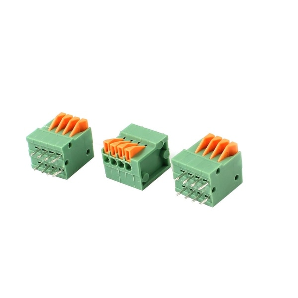 3pcs 4-Position 2.54mm Pitch 150V 2A PCB Mount Type Spring Terminal Block